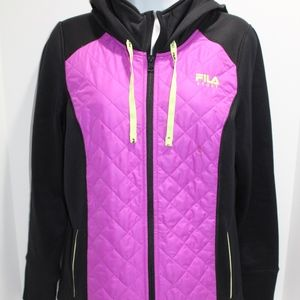 Fila Sport Size M hooded black w purple quilted